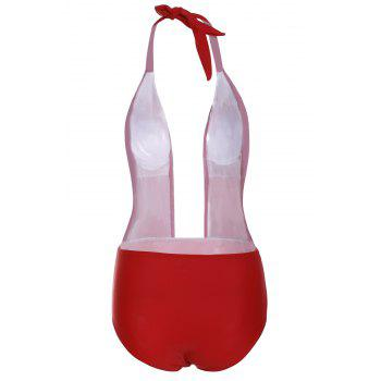 Alluring Halterneck Red One-Piece Swimsuit For Women - RED M
