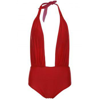 Alluring Halterneck Red One-Piece Swimsuit For Women - RED RED