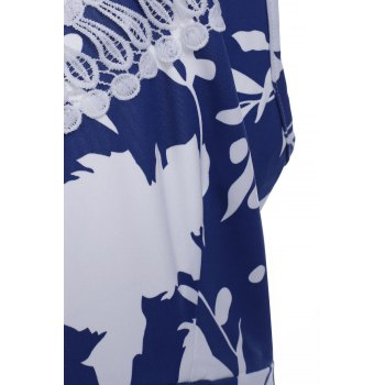 Floral Print Backless Criss Cross Mini Dress - BLUE/WHITE L