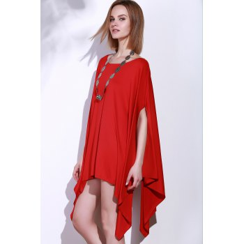 Handkerchief Plus Size Caped Top with Batwing Sleeve - RED RED