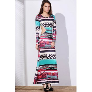 Bohemian Round Neck Long Sleeve Cut Out Printed Women's Dress - COLORMIX XL