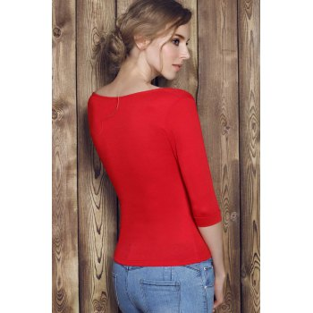 Charming Low-Cut Solid Color Zippered 3/4 Sleeve T-Shirt For Women - RED L