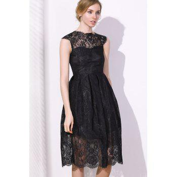 Fashionable Women's Round Collar Cap Sleeve Lace A-Line Dress - BLACK L