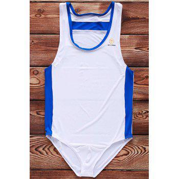 Hit Color Letters Logo Pattern U Convex Pouch Design Men's One-Piece Swimming Suit - WHITE WHITE