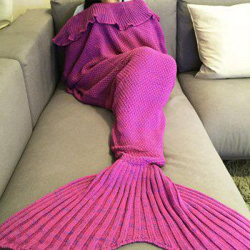 Stylish Comfortable Falbala Decor Knitted Mermaid Design Throw Blanket - ROSE