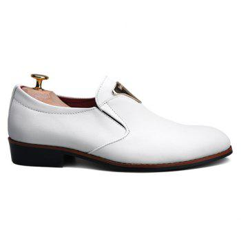 Stylish Metal and Solid Color Design Men's Formal Shoes - WHITE 40