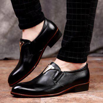 Stylish Metal and Solid Color Design Men's Formal Shoes - BLACK 40