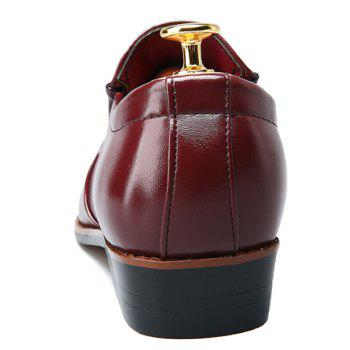 Stylish Metal and Solid Color Design Men's Formal Shoes - WINE RED 43