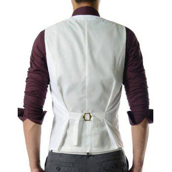 Single Breasted Solid Color Men's Waistcoat With Chain - WHITE 2XL