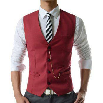 Hommes breasted Simple Solide Couleur d  'Waistcoat Avec Chain - Rouge XL