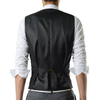 Single Breasted Solid Color Men's Waistcoat With Chain - BLACK BLACK