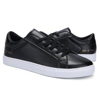 Stylish Lace-Up and Figure Print Design Men's Casual Shoes - BLACK 41