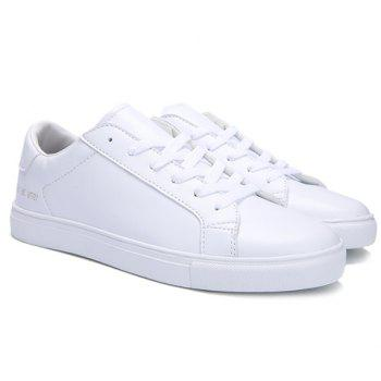 Stylish Lace-Up and Figure Print Design Men's Casual Shoes - WHITE 41