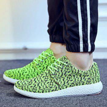 Fashionable Lace-Up and Color Matching Design Men's Casual Shoes - GREEN 43