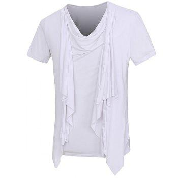 Solid Color Short Sleeves Faux Twinset T Shirt For Men