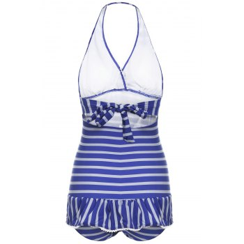 Navy Style Halter Neck Striped Color Matching Bowtie Embellished Ruffled Women's Swimwear - STRIPES XL