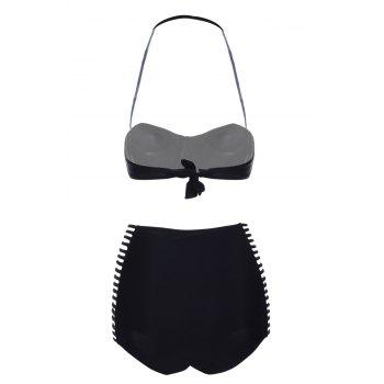 Hollow Out Solid Color Halter Bikini Set For Women - BLACK XL