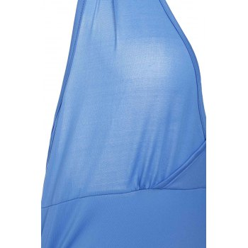 Halter Sleeveless Solid Color Backless Ruched Tank Top - BLUE XL