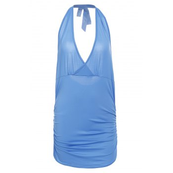 Halter Sleeveless Solid Color Backless Ruched Tank Top - BLUE M