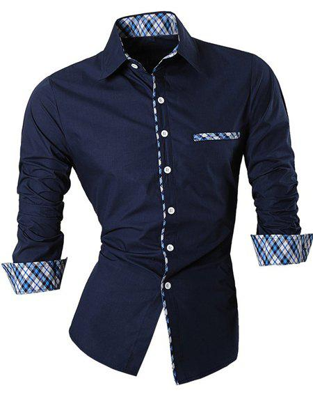 Hot Sale Turn Down Collar Single Breasted Splicing Plaid Shirt For Men - PURPLISH BLUE M