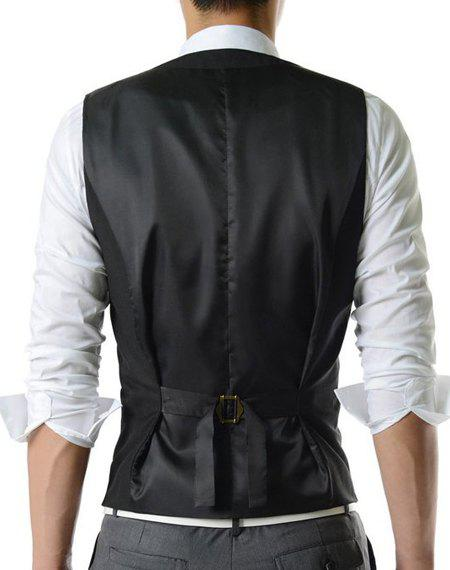 Single Breasted Solid Color Men's Waistcoat With Chain - BLACK XL