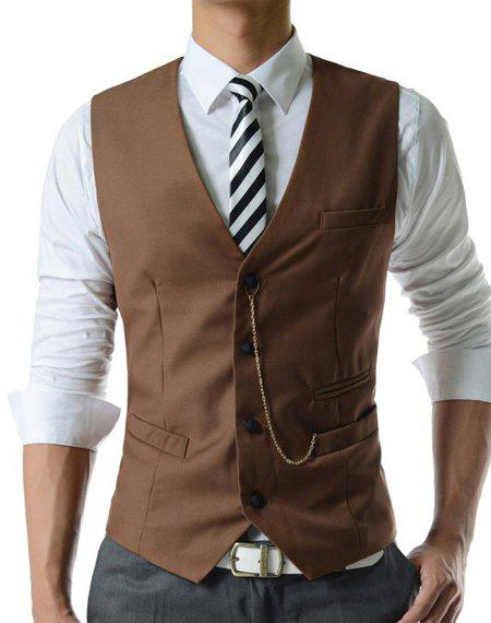 Single Breasted Solid Color Men's Waistcoat With Chain - L KHAKI