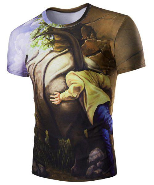Slim Fit Round Collar 3D Rhino Printed Short Sleeves T-Shirt For Men - M COLORMIX