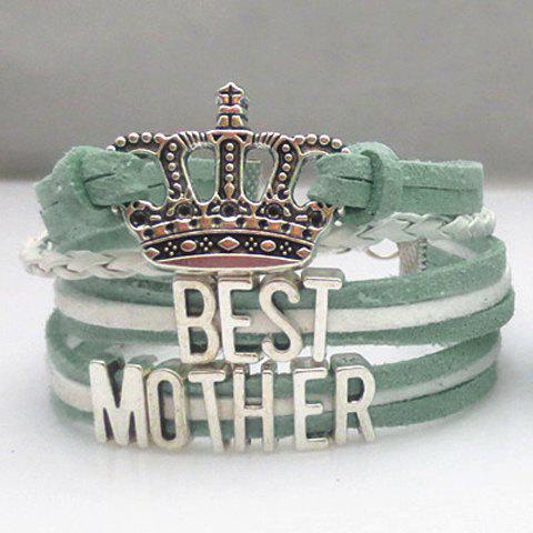 Crown Letter Weaved Layered Friendship Bracelet - LAKE BLUE