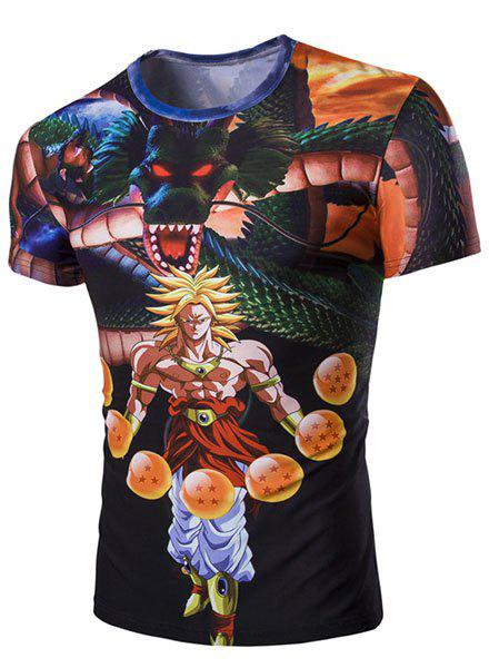 Slim Fit Round Collar 3D Dragon Printed Short Sleeves T-Shirt For Men - BLACK M