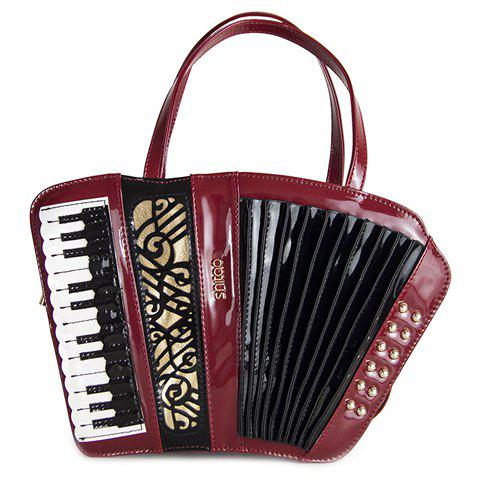 Novelty Accordion Shape and Rivets Design Women's Tote Bag - WINE RED