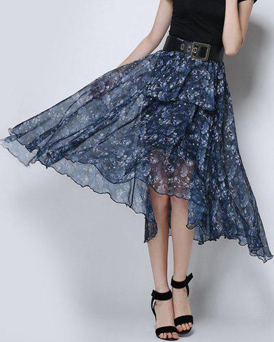 Floral Swing See Through Skirt - CADETBLUE XL