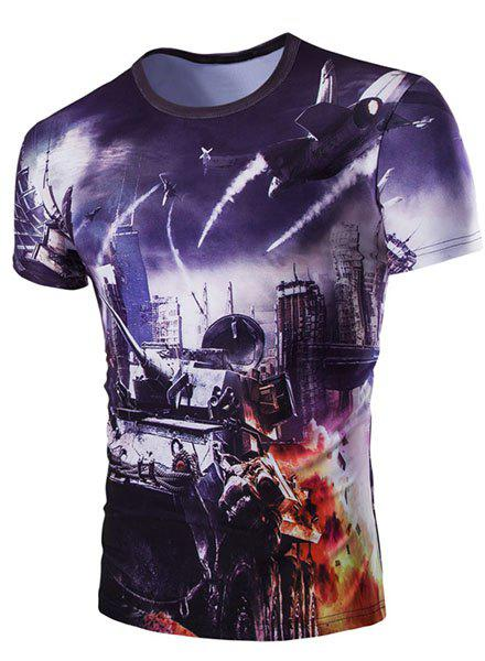 Slim Fit Round Collar 3D Plane Printed Short Sleeves T-Shirt For Men - PURPLE L