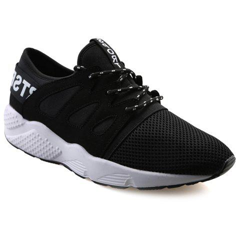 Fashionable Splicing and Lace-Up Design Men's Casual Shoes - BLACK 39