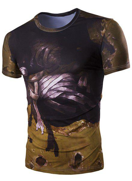 Slim Fit Round Collar 3D Mummy Printed Short Sleeves T-Shirt For Men - DEEP BROWN M