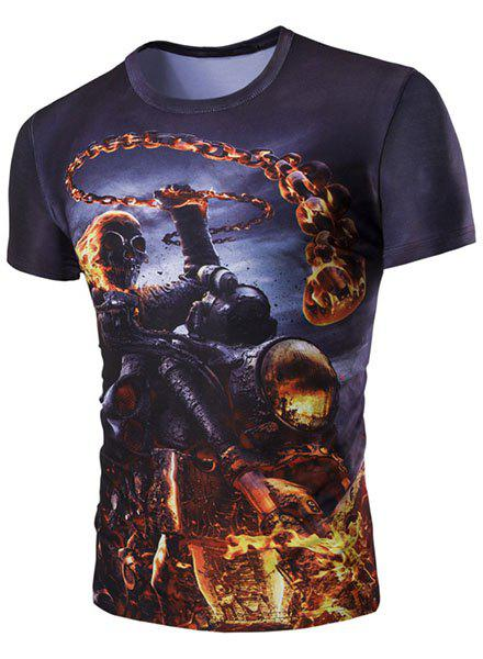 Slim Fit Round Collar 3D Skull Warrior Printed Short Sleeves T-Shirt For Men - BLACK M