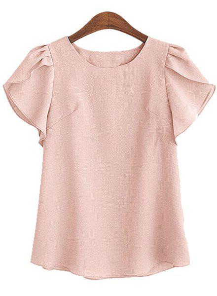 s 'Blouse Col rond Charme Pétale Sleeve Solid Color Loose Women - ROSE PÂLE 5XL