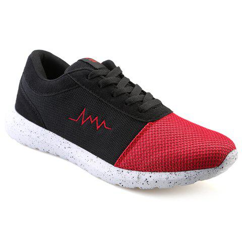 Stylish Lace-Up and Colour Matching Design Men's Athletic Shoes - RED/BLACK 44