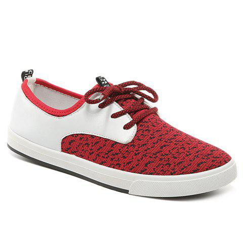 Trendy PU Leather and Splicing Design Men's Casual Shoes - RED 44