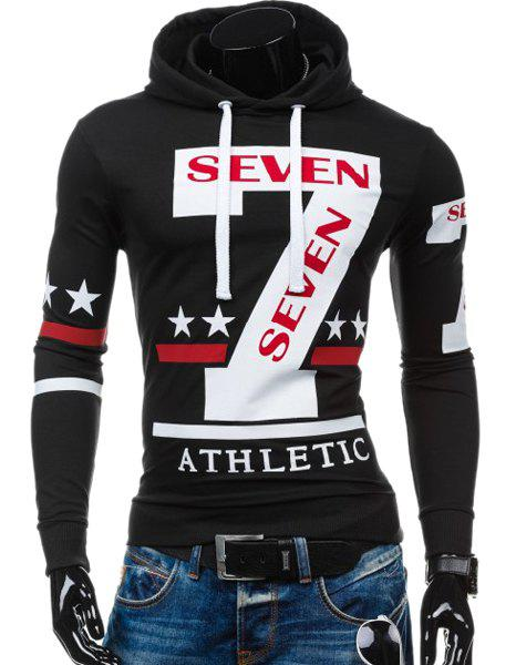 Personality Hooded Drawstring Star Letters Number Pattern Long Sleeves Hoodie For Men - BLACK XL