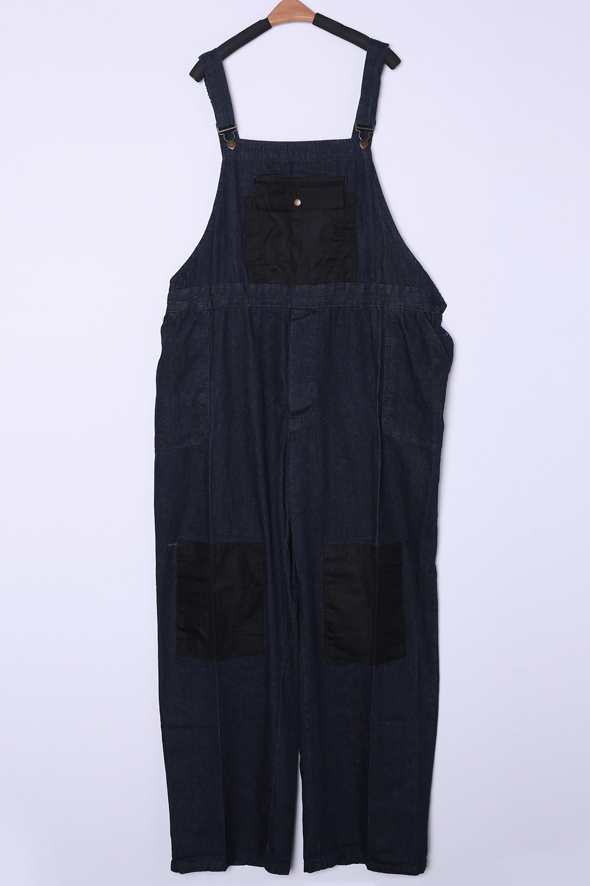 Casual Plus Size Straight Leg Multi-Pocket Loose Fit Men's Denim Overalls - DEEP BLUE ONE SIZE(FIT SIZE XS TO M)