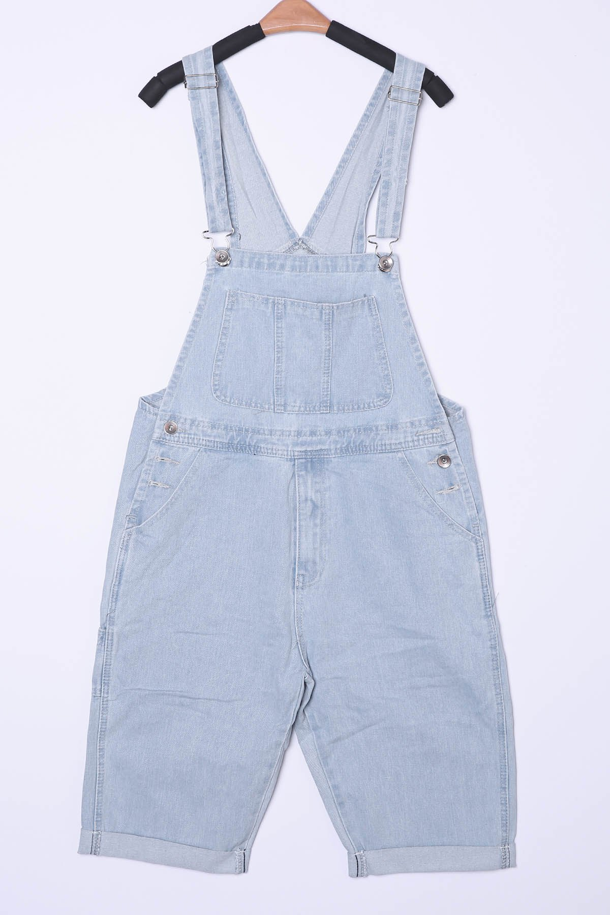 Laconic Loose Fit Straight Leg Patch Pocket Bleach Wash Men's Denim Overalls Shorts - LIGHT BLUE XL