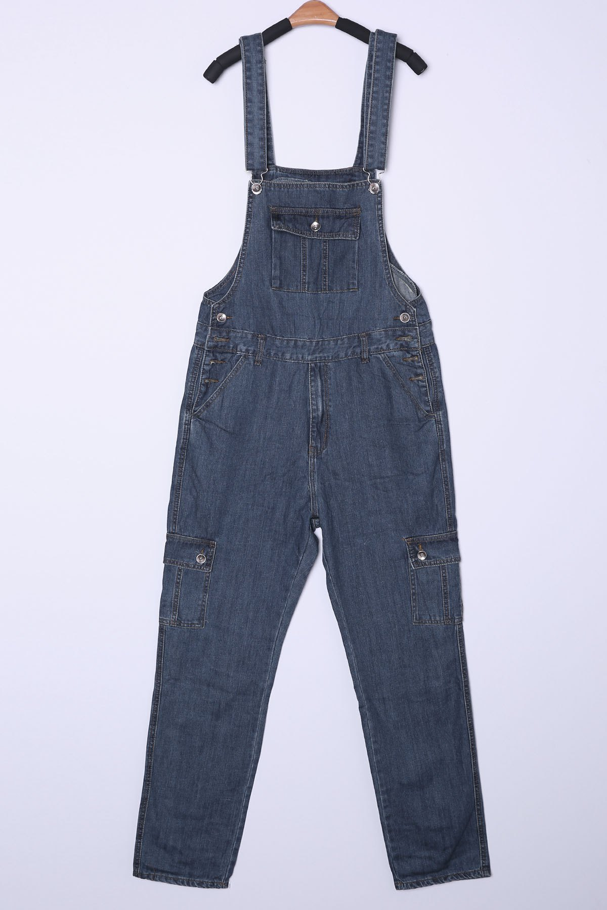 Plus Size Loose Fit Straight Leg Stereo Flap Pocket Zipper Fly Men's Denim Overalls - DENIM BLUE XL