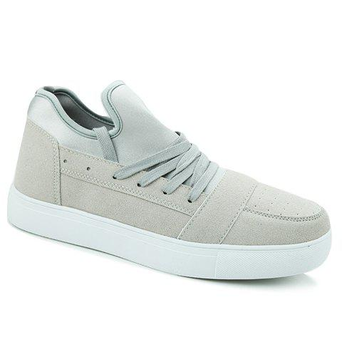 Stylish Solid Color and Suede Design Men's Casual Shoes - LIGHT GRAY 44