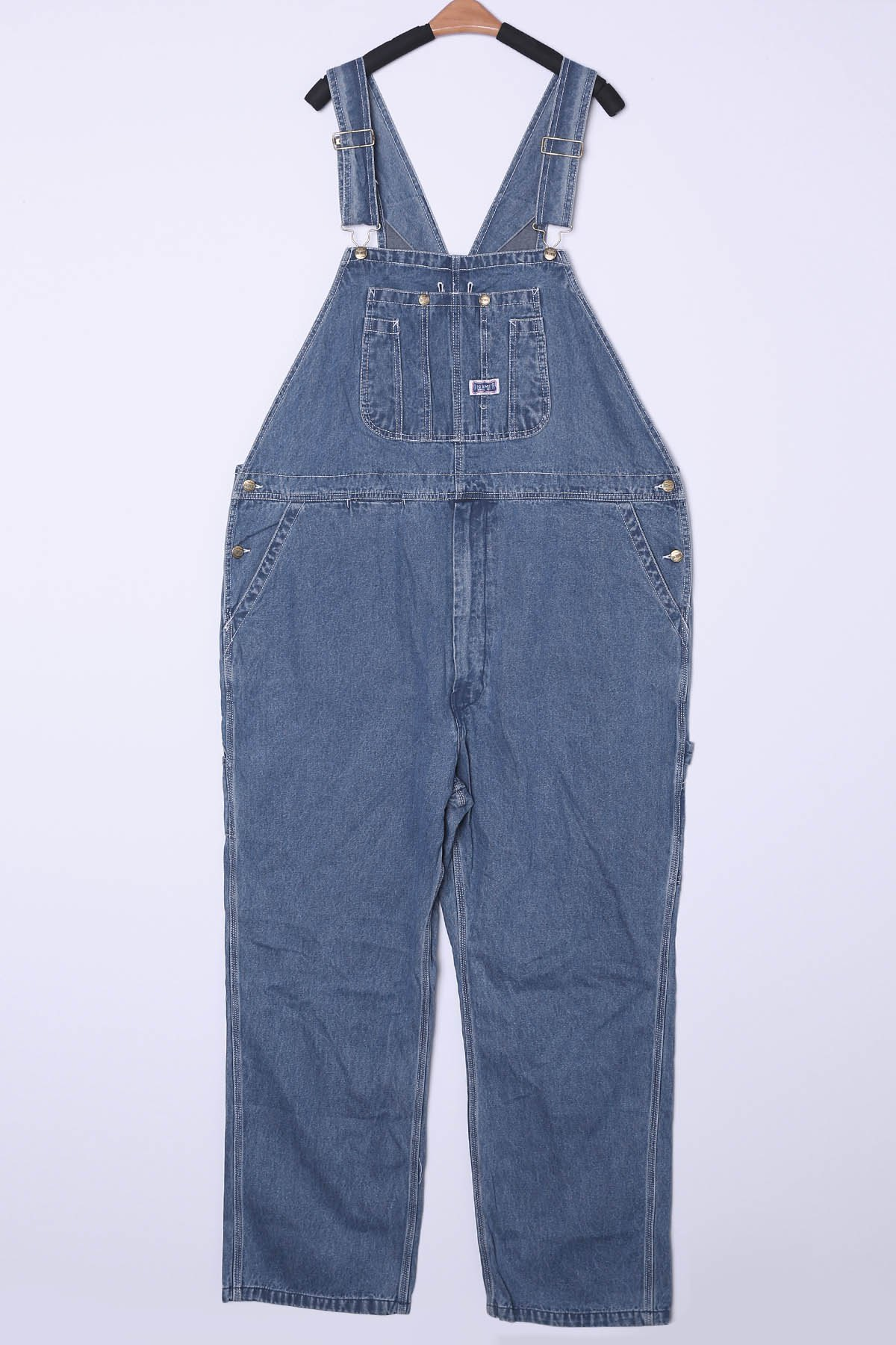 Loose Fit Plus Size Multi-Pocket Bleach Wash Straight Leg Men's Denim Overalls