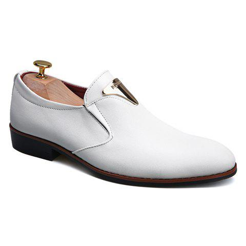 Stylish Metal and Solid Color Design Men's Formal Shoes - WHITE 41