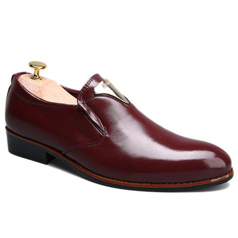 Stylish Metal and Solid Color Design Men's Formal Shoes - WINE RED 42