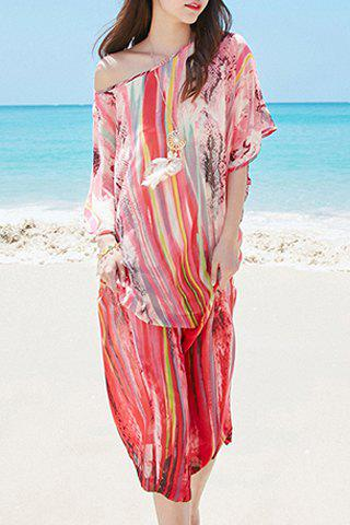 Chiffon Batwing Print Boho Dress - LIGHT PINK M