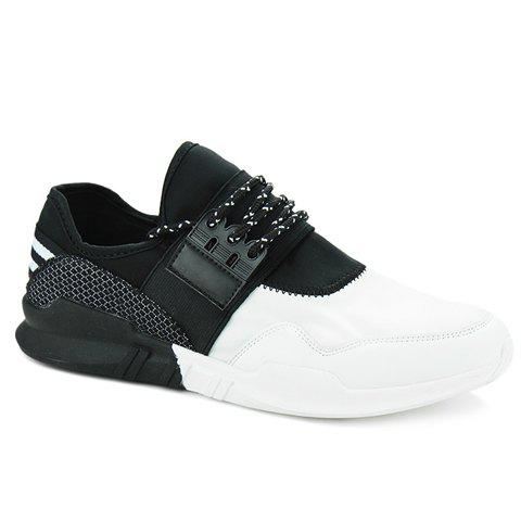 Trendy Splicing and Elastic Band Design Men's Casual Shoes - WHITE/BLACK 39