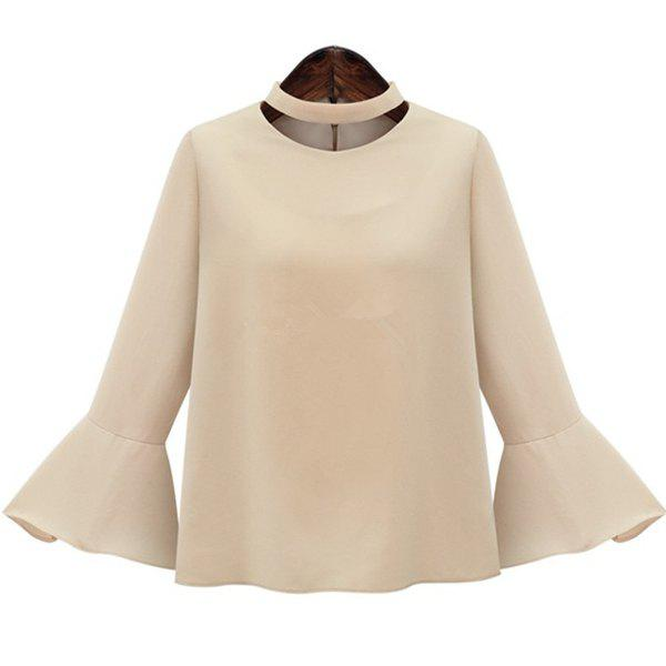 Stylish Women's Stand Collar Flare Sleeve Pure Color Loose-Fitting Blouse - XL APRICOT