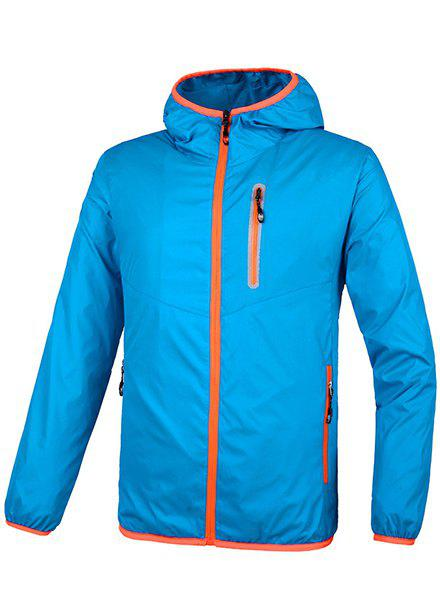 Hooded Plus Size Solid Color Long Sleeve Sport Men's Quick-Dry Jacket - AZURE M